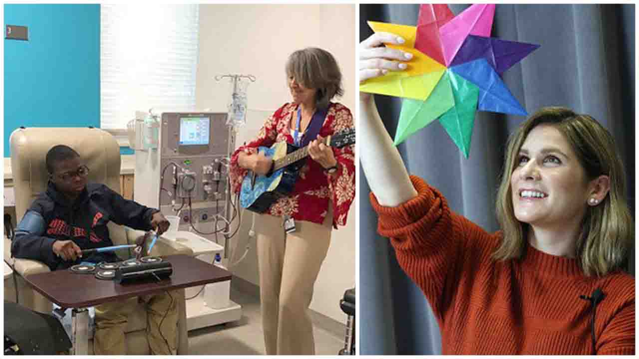 Musician-in-residence Wendy Laxner and artist-in-residence Aubrey Bodt strive to give patients the opportunity to have some fun during their hospital stay.